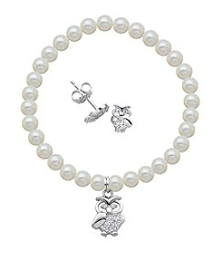 Sterling Silver Cubic Zirconia Owl Stud Earrings & Pearl Bracelet Set
