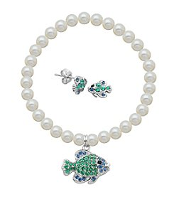 Sterling Silver Swarovski® Fish Stud Earrings & Pearl Bracelet Set