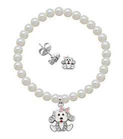 Sterling Silver Swarovski® and Epoxy Puppy Stud Earrings & Pearl Bracelet Set
