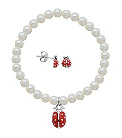 Sterling Silver Ladybug Stud Earrings & Pearl Bracelet Set