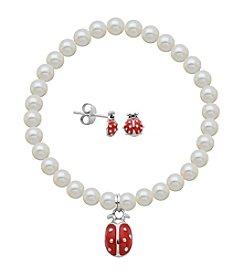 Sterling Silver Ladybug Stud Earrings & Pearl Bracelet Set