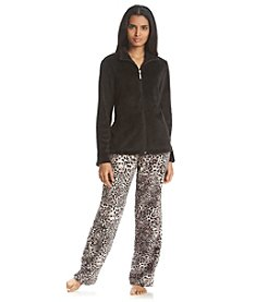 Jasmine Rose® Zip Top Fleece Pajama Set