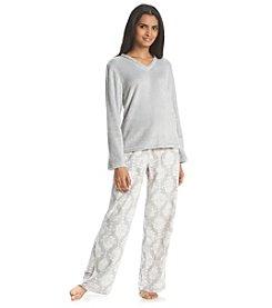Jasmine Rose® Fleece V Neck Pajama Set