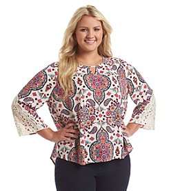 Eyeshadow® Plus Size Paisley Peasant Top