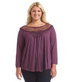 Eyeshadow® Plus Size Crochet Yoke Peasant Top