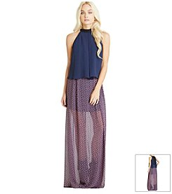 BCBGeneration™ Printed Chiffon Maxi Dress