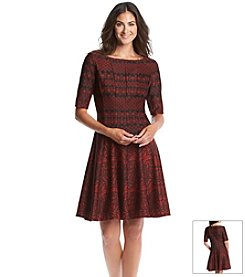 Julian Taylor Pleated Patterned Dress