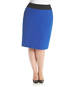 Kasper® Plus Size Stretch Crepe Colorblock Skirt