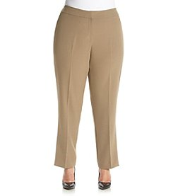 Kasper® Plus Size Solid Stretch Crepe Slim Pants