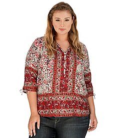 Lucky Brand® Plus Size Floral Woodblock Peasant Blouse