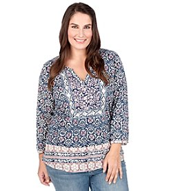 Lucky Brand® Plus Size Block Floral Top