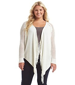 Jessica Simpson Plus Size Zini Marled Open Front Cardigan With Fringe