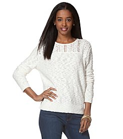 Chaps® Pointelle-Yoke Crew Neck Sweater