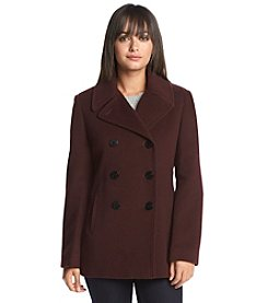 Calvin Klein Double-Breasted Notch Collar Peacoat