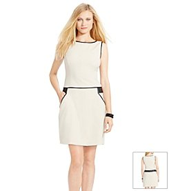 Lauren Ralph Lauren® Faux-Leather Gabardine Dress