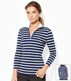 Lauren Active® Striped Mock Neck Pullover