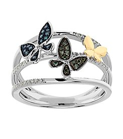 .25 ct. t.w. Diamond Butterfly Ring In Sterling Silver
