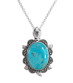 Marsala Silver Plated Marcasite & Simulated Turquoise Turtle Pendant