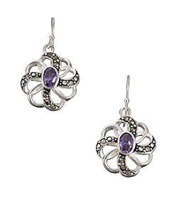Marsala Silver Plated Marcasite & Purple Cubic Zirconia Pinwheel Earrings