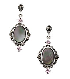 Marsala Silver Plated Oval Paua Shell Marcasite Drop Earrings