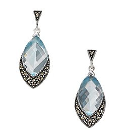 Marsala Sterling Silver Marquise Aqua Glass & Marcasite Drop Earrings