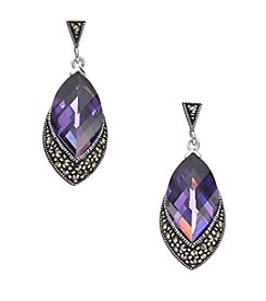 Marsala Sterling Silver Marquise Purple Cubic Zirconia & Marcasite Drop Earrings