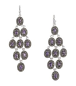 Marsala Sterling Silver Purple Cubic Zirconia & Marcasite Chandelier Earrings