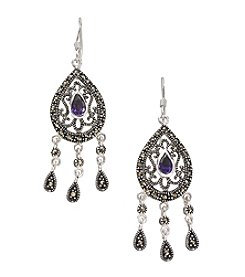 Marsala Silver Plated Marcasite Chandelier Earrings