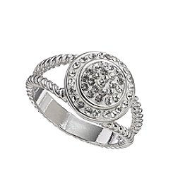 Relativity® Clear Halo Pave Silvertone Ring