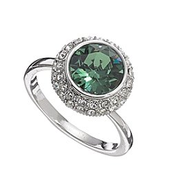 Relativity® Erinite Blue Green Halo Pave Silvertone Ring