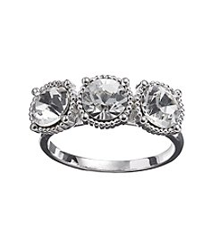 Relativity® Clear Three Stone Silvertone Ring
