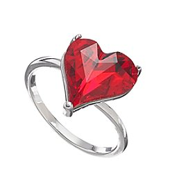 Relativity® Red Heart Shaped Cocktail Silvertone Ring