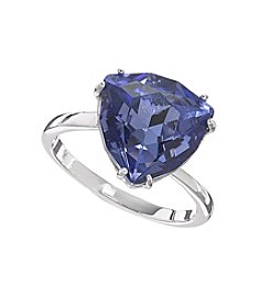 Relativity® Tanzanite Trillion Shaped Silvertone Ring
