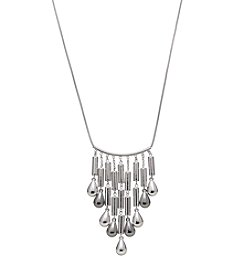 Relativity® Silvertone Teardrop Beads Fringe Necklace