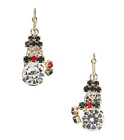 Studio Works® Multicolor And Goldtone Snowman With Scarf Earrings