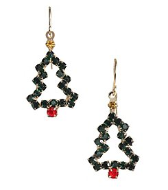 Studio Works® Multicolor And Goldtone Openworks Christmas Tree Earrings