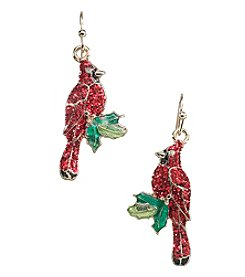 Studio Works® Goldtone Glitter Cardinal Drop Earrings