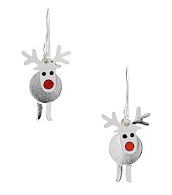Studio Works® Silvertone Layered Reindeer Drop Earrings