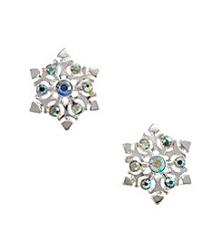 Studio Works® Silvertone Snowflake Button Earrings