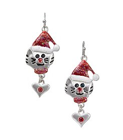 Studio Works® Silvertone Christmas Cat Heart Drop Earrings