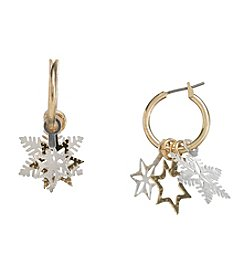 Studio Works® Two Tone Snowflake 3-D Hoop Earrings