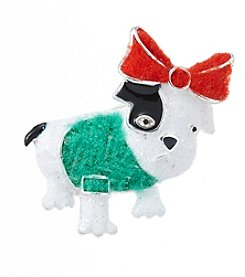 Holiday Silvertone Christmas French Bulldog Pin