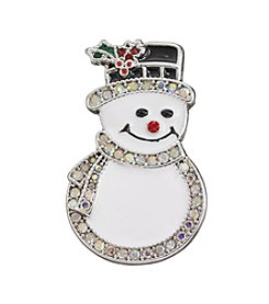 Studio Works® Silvertone Smiling Simulated Crystal Snowman Pin