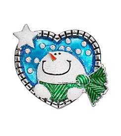 Studio Works® Silvertone Blue Heart With Snowman Face Pin