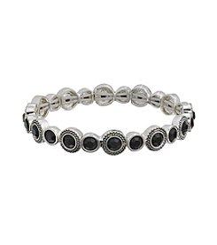 Napier® Silvertone And Jet Stone Narrow Stretch Bracelet