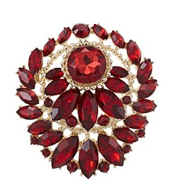 Napier® Goldtone And Red Stone Brooch In Gift Box