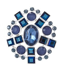 Napier® Silvertone And Blue Stone Brooch In Gift Box