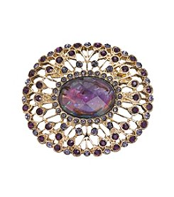 Napier® Goldtone And Purple Stone Brooch In Gift Box