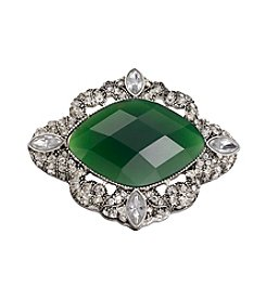 Napier® Silvertone And Emerald Stone Vintage Looking Brooch In Gift Box