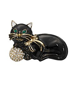 Napier® Goldtone And Black Cat Brooch In Gift Box